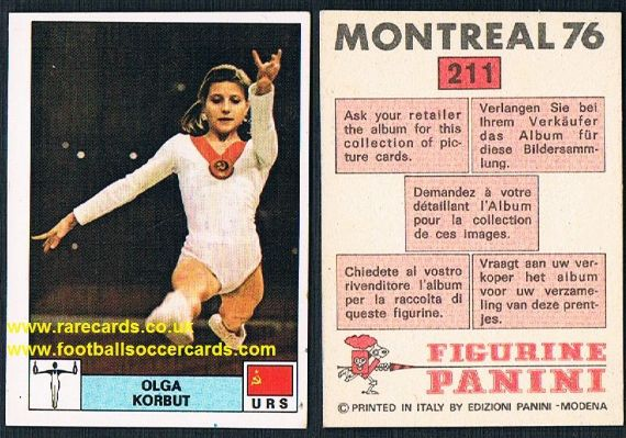 1976 Olga Korbut  Ольга Корбут CCCP USSR Olympic golds World champ gymnast Montreal 76 Panini 211